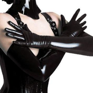Adult Sexy Long Latex Gloves Black Ladies Hip-pop Fetish Faux Leather Gloves Clubwear Sexy Catsuit Cosplay Costumes Accessory
