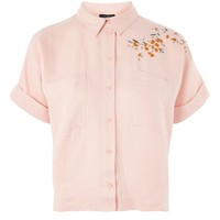 Panther Embroidered Shirt   Topshop