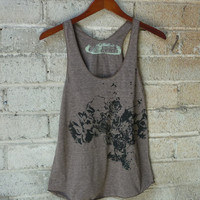 Cocoa and Black Flowers and Birds Tri-Blend Racerback Tank Top
