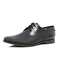 River Island MensBlack leather woven formal shoes