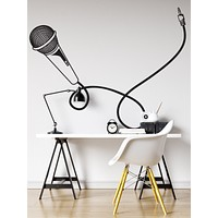 Microphone Wall Decal. Kid's bedroom decor with Mic and Cord. #449