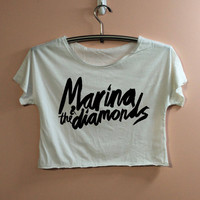 Marina & The Diamonds Shirt Crop Top Midriff Mid Driff Belly Shirt Women - size S M