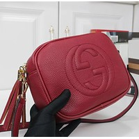 Gucci Fashion Ladies Shopping Pure Color Tassel Leather Shoulder Bag