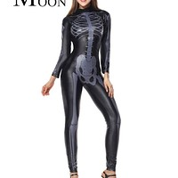 MOONIGHT Sexy Bones Halloween Costume Cosplay Black Jumpsuit Skeleton Costume Body Shaper Adult Costume for Women Macchar Cosplay Catalogue