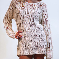 Beautiful Open Knit Crochet Long Sleeve Summer Beach Getaway Shift Dress