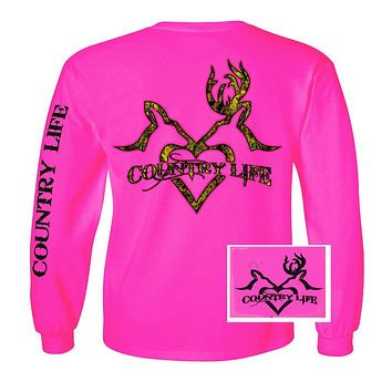 Country Life Outfitters Pink Deer Kiss Heart Love Hunt Vintage Long Sleeve Bright T Shirt