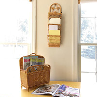 Small Rattan Magazine Rack, Wall Mounted  Wall Basket, Tabletop Wicker Plant Holder