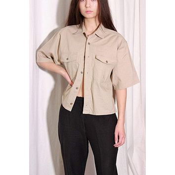 Beige Cropped Box Button Down Blouse / L