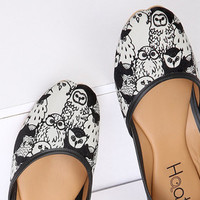 Women's vegan ballet flats   Quirky hand-illustrated owl print   Wearable art slip on shoes   Cruelty free fashion