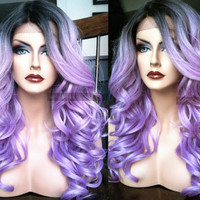 U.S.A. // Pastel Purple Wavy LACE FRONT Wig w/ Skin Part & Heat OK Ombre Lavender Dark Roots Cosplay