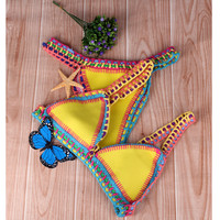 2016 Female Bathing Suit Reversible Swimwear Bikini Sexy Handmade Crochet Bikinis Set Fashion Women Neoprene Swimsuit