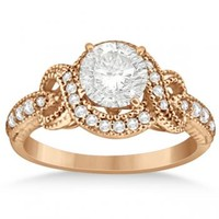 Twisted Diamond Engagement Ring Setting in 14k Rose Gold (0.25ct)-Allurez.com