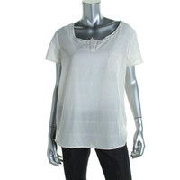 Calvin Klein Jeans Womens Textured Perforated Casual Top