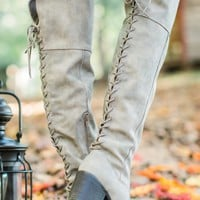 Tie Breaker Taupe Knee High Boots