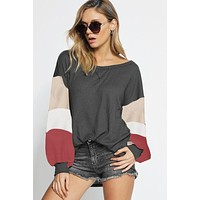 Puff Sleeve Color Block Top - Charcoal