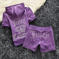 Fashion Velvet tracksuit pants with short sleeves hot drill head Purple (9color)