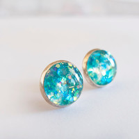Turquoise Silver Sparkly Round Stud Earrings