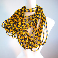 Cyber Monday Etsy Navy Blue Gold Striped Infinity Scarf Upcycled Clothing Team Colors USNA Notre Dame Winter Accessories Gifts Under 50