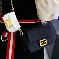 Onewel Fendi 2020 Newest Lady Crossbody Bag Mother-in-law Bag Buy Big and Get Small Two Piece Suit Black White
