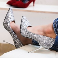 Teahoo Bling Stiletto Heels Women Wedding Shoes 9.5 cm High Heels Shoes Woman Elegant Pointed Toe Glitter Women Pumps for Party