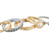 GUESS Five Piece Midi Ring Set Silver/White Pearl/Gold/Crystal - Zappos.com Free Shipping BOTH Ways