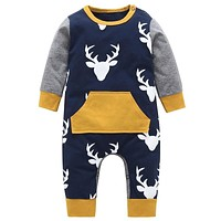 Autumn 2019 Baby rompers baby boy clothing cotton newborn baby boy clothes long sleeve Deer head infant newborn jumpsuit outfits
