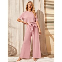 SHEIN Drop Shoulder Tee & Belted Pants Set