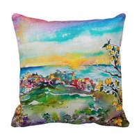 Cinque Terre Italy Lemon Orchard and Sunset View Pillows