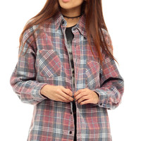 90s Plaid Shirt Oversized Red Flannel Shirt Grunge FADED Blue Button Up Retro 1990s Lumberjack Vintage Oversize Long Sleeve Small Medium