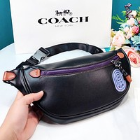COACH New fashion leather couple shoulder bag waist bag crossbody bag