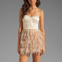 BLAQUE LABEL Feather Skirt Strapless Dress in Nude from REVOLVEclothing.com