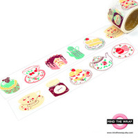 Tea Party - Japanese Washi Tape - Extra wide 38mm - Tea & Cake - Bright Pastel colors - Pretty Teacups and Sweets - Party favors
