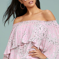 Whistle a Tune Mauve Pink Print Off-the-Shoulder Crop Top