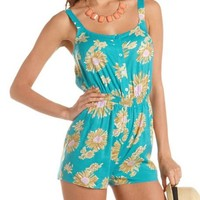 Button-Down Floral Romper: Charlotte Russe