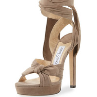 Jimmy Choo Vixen Suede Ankle-Wrap 130mm Sandal, Light Mocha