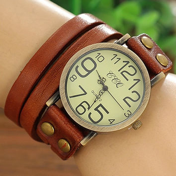 New Arrive Women's And Men's Fashion Couple Jewelry Punk Rock Retro Cow Leather Bracelet Bangle Watches Wrap Winding Ladies Vintage Wrist Watches BY EZMAX [1929908228]