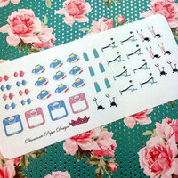 43 kiss cut and ready to peel off Fitness Stickers! Perfect for your Erin Condren Life Planner, Filofax, Kikkik, Plum Paper