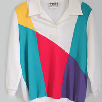 Vintage 80's Color block Long Sleeve Polo