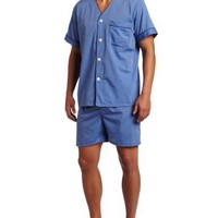Majestic International Men's Easy Care Blended Shorty Pajama, Blue, Small