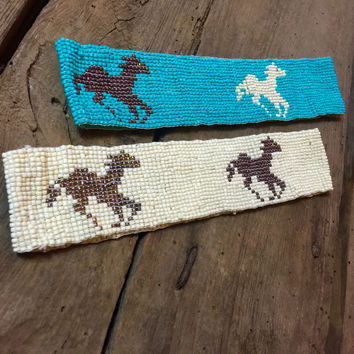 RUNNING HORSES BEADED HEADBAND