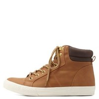 Camel Lace-Up Work Bootie Sneakers by Charlotte Russe