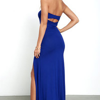 Enchanted Forest Royal Blue Strapless Maxi Dress