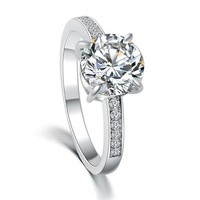 Solitaire Cubic Zirconia Diamond Ring 2ct -  Rose Gold and Silver