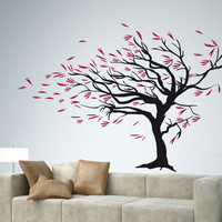 Blowing Tree in the Wind Wall Decal - Stormy weather floral Decor