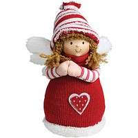 """9"""" Red and White Angel Girl with Heart Inspirational Christmas Tabletop Decoration"""