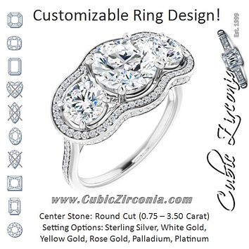 Cubic Zirconia Engagement Ring- The Iekika (Customizable 3-stone Round Cut Design with Multi-Halo Enhancement and 150+-stone Pavé Band)