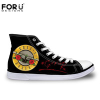 FORUDESIGNS Hot Guns N Roses Pattern Printed Shoes for Women Fashion High Top Canvas Shoes Casual Breathable Vulcanization Shoes