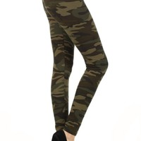 Army Graphic Print Lined Leggings