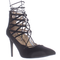 M.G. Pronto Lace Up Pointed Toe Heels - Black