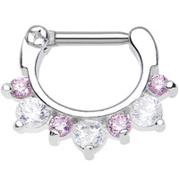 "14 Gauge 5/16"" Seven Pink and Clear Cubic Zirconia Septum Clicker 